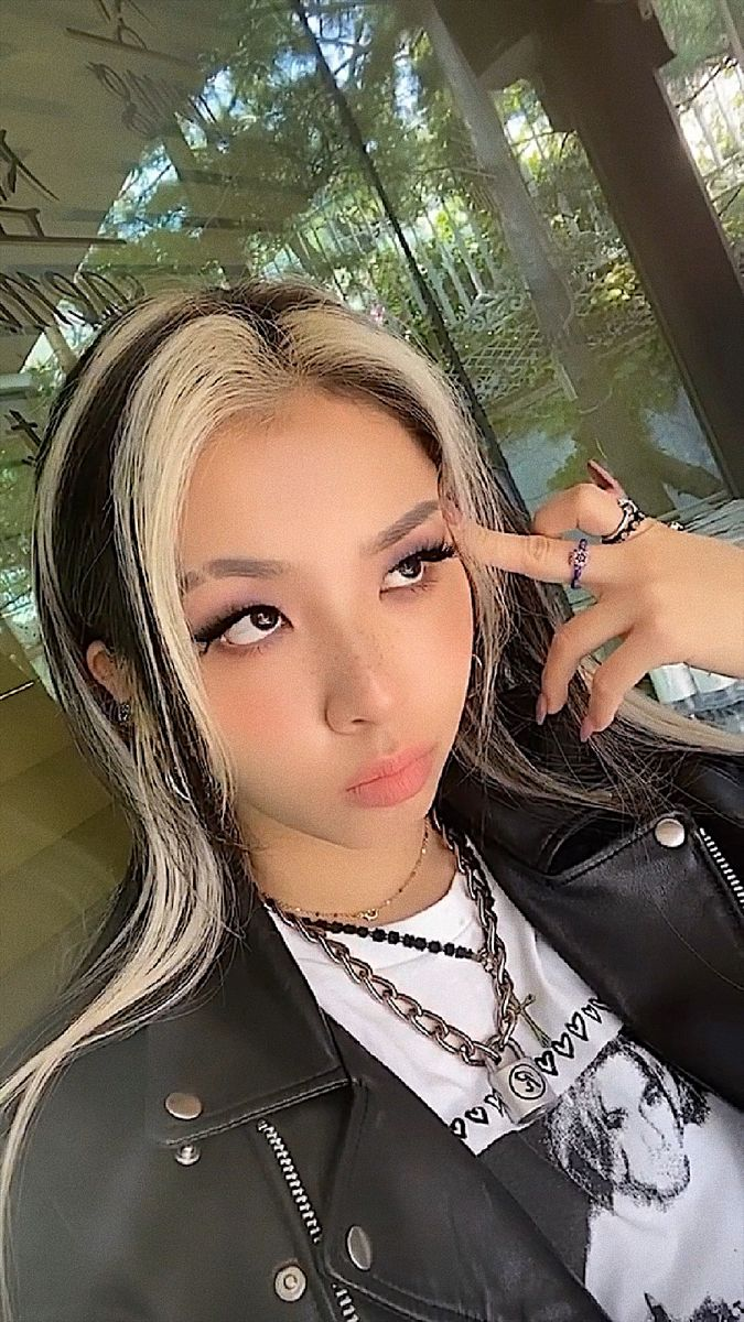 Jeon Jiwoo In 2020 Skunk Hair Hair Inspo Color Hair Streaks