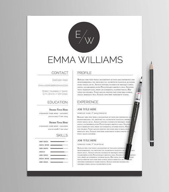 Résumé Template No 4 \/\/ Creative CV \ Cover Letter \/\/ Modern - modern resume templates word