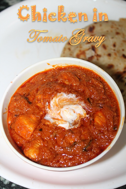 This is a simple tomato based chicken curry..It is so easy to make..You dont have to chop lots of onions for this, it is purely a tomato...