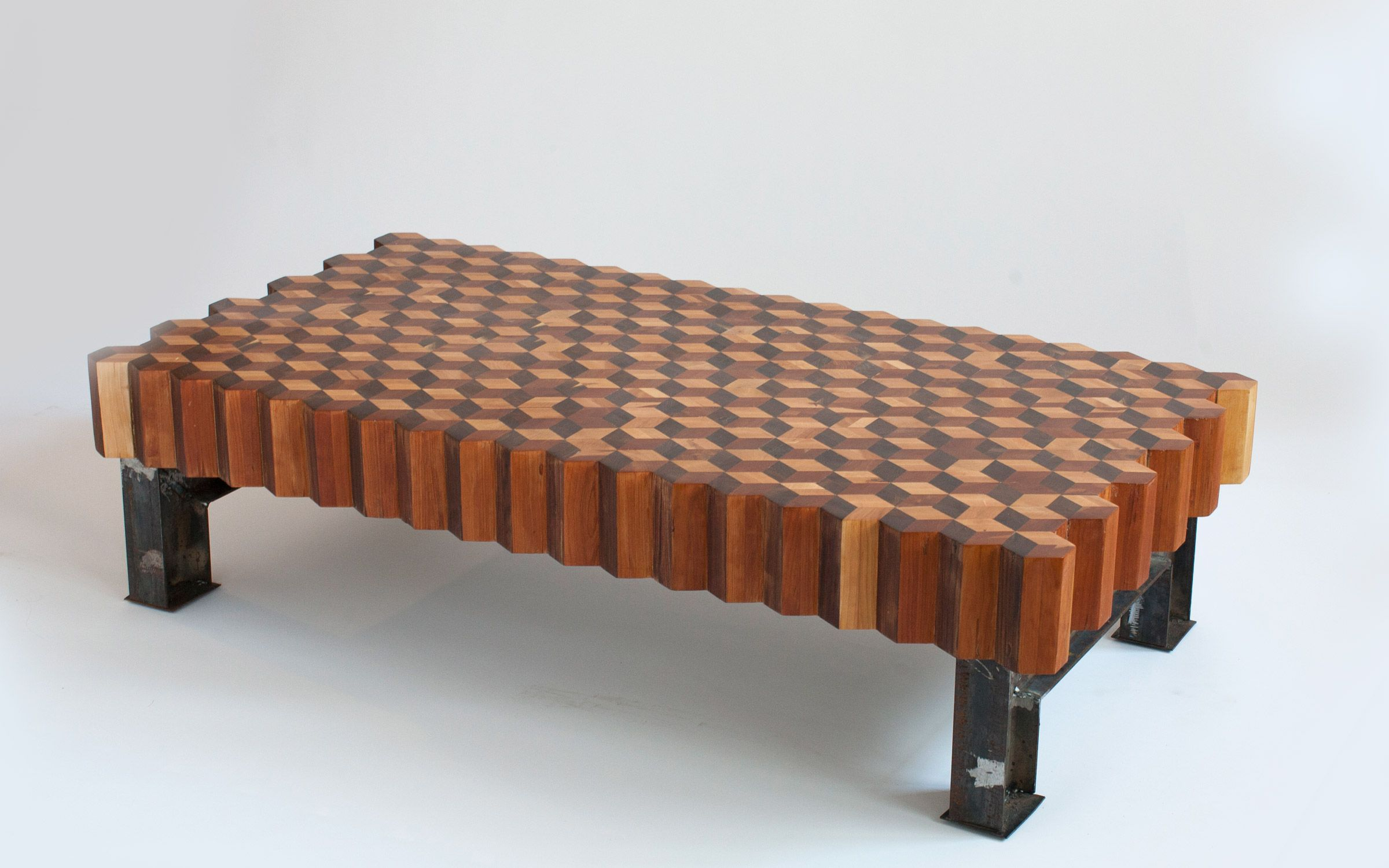 epic 3 X 6 and 6 inches thick tumbling block pattern coffee
