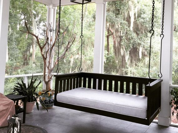 Steel S Hooks Chain To Hang Swing Bed Package Comes With 4 Porch Swing Bed Porch Furniture Porch Swing