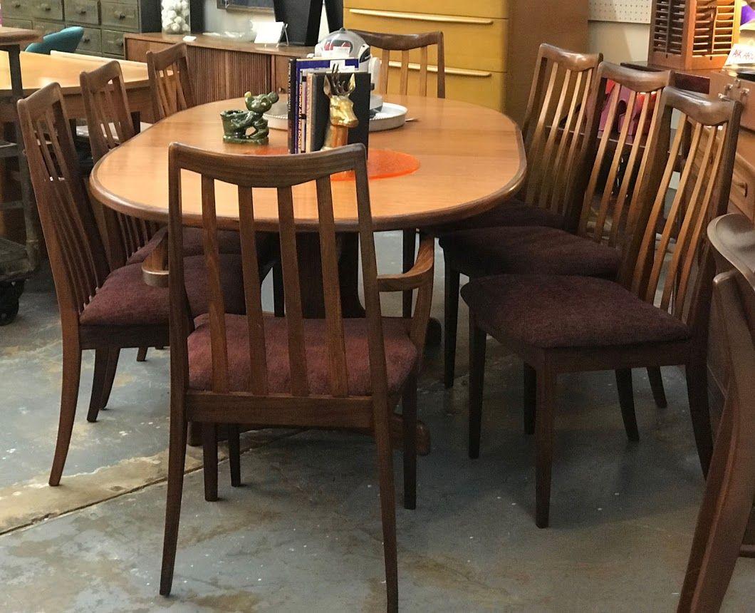 mid century modern danish teak table and eight chairs on sale g plan
