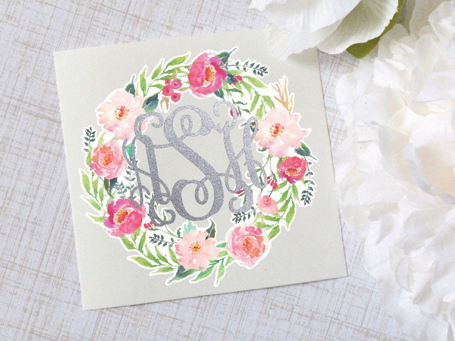 Flower Wreath Monogram Vinyl Decal Flower Decal Watercolor