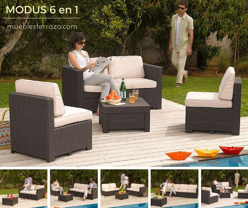 El Conjunto Modular Modus 6 En 1 Es Combinable Y Se Adapta Al ... Modulares Outdoor Sofa Island