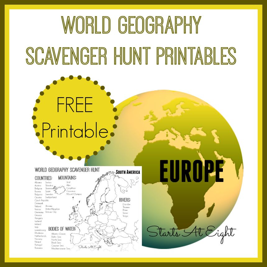 World Geography Scavenger Hunt Europe ~ FREE Printable - geographic preference