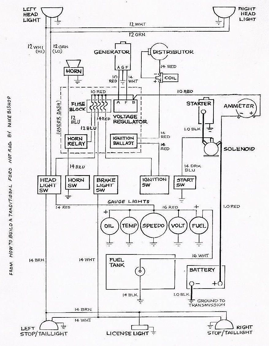 basic ford hot rod wiring diagram hot rod tech this basic ford hot rod wiring diagram was designed for 12 volt systems but can also be used for 6 volt systems if used for 6 volt make all the wires