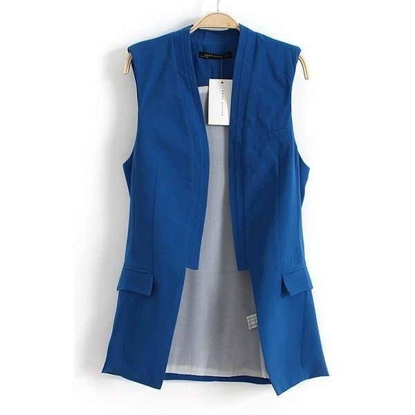 Sapphire Blue Band Collar Sleeveless Wrap Cotton Vest ($41) found on Polyvore