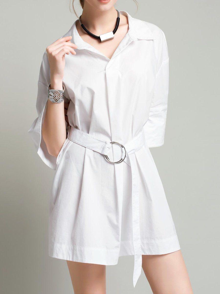 White simple solid shirt collar mini dress shirt collars