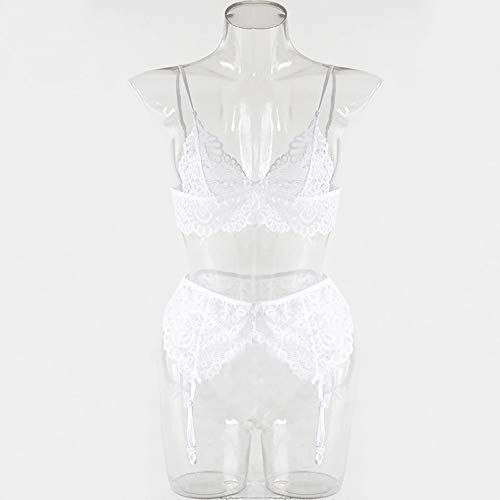 1ab85b5b49 Ladysdress Womens White Lace Lingerie Set Garter Belt Charm Sexy G String  Thong Underwear Nightwear
