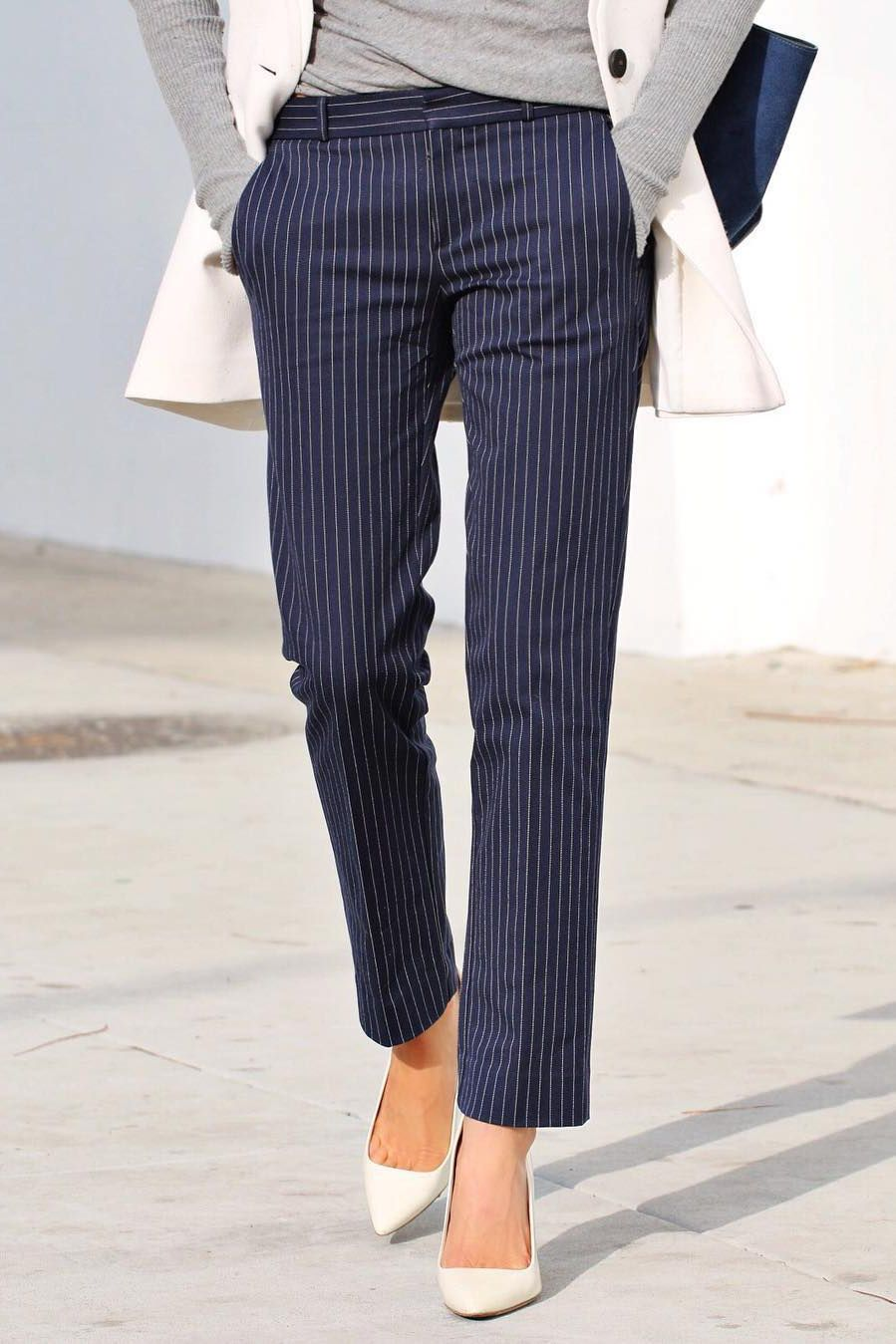 bdb197467da Keep your look classic in our navy and white pinstripe straight leg pants