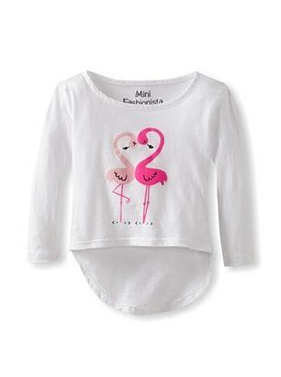50% OFF Mini Fashionista Girl's Flamingo Love High-Low Tee (White)