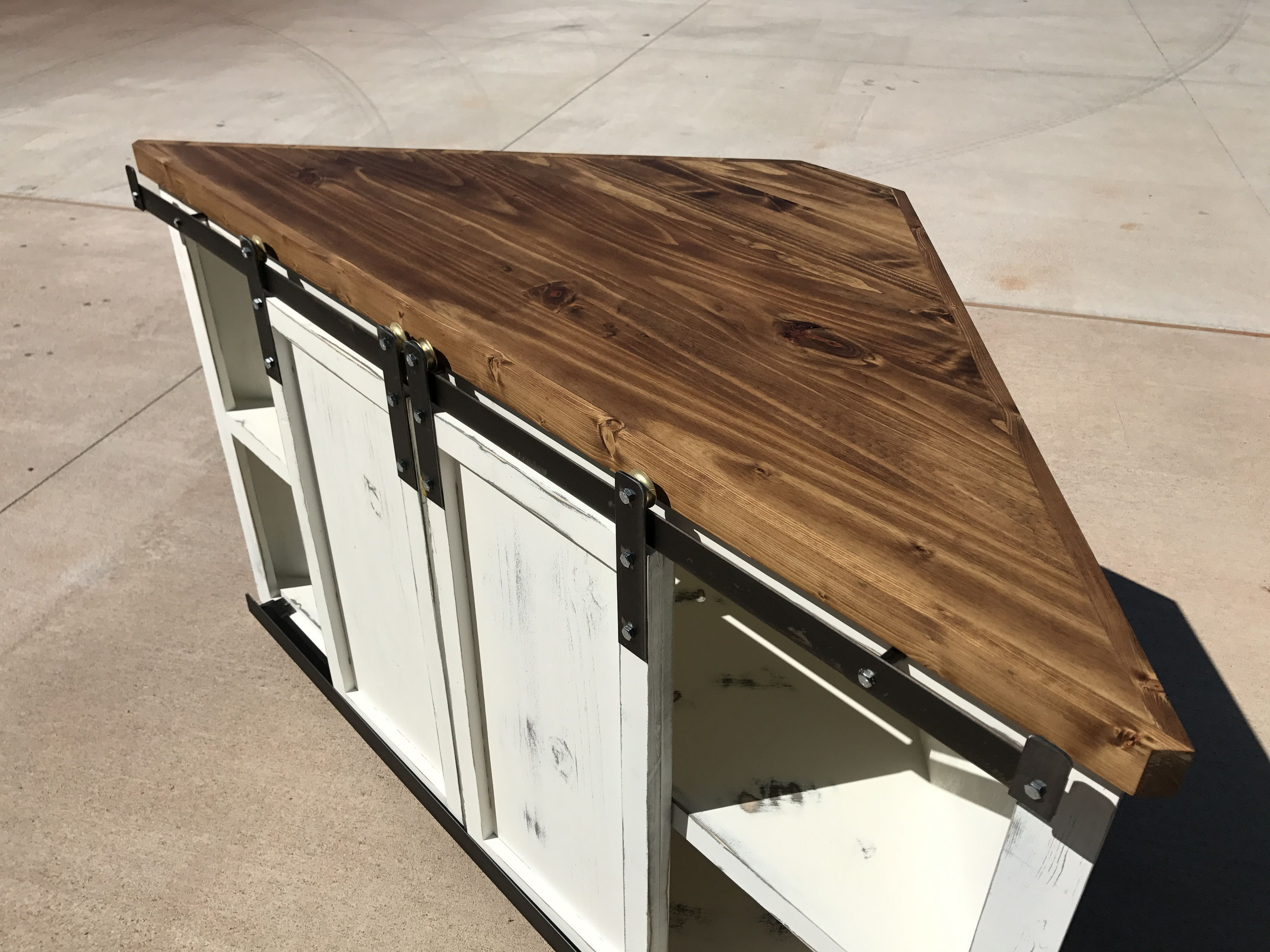 Farmhouse style corner TV stand Living room tv stand