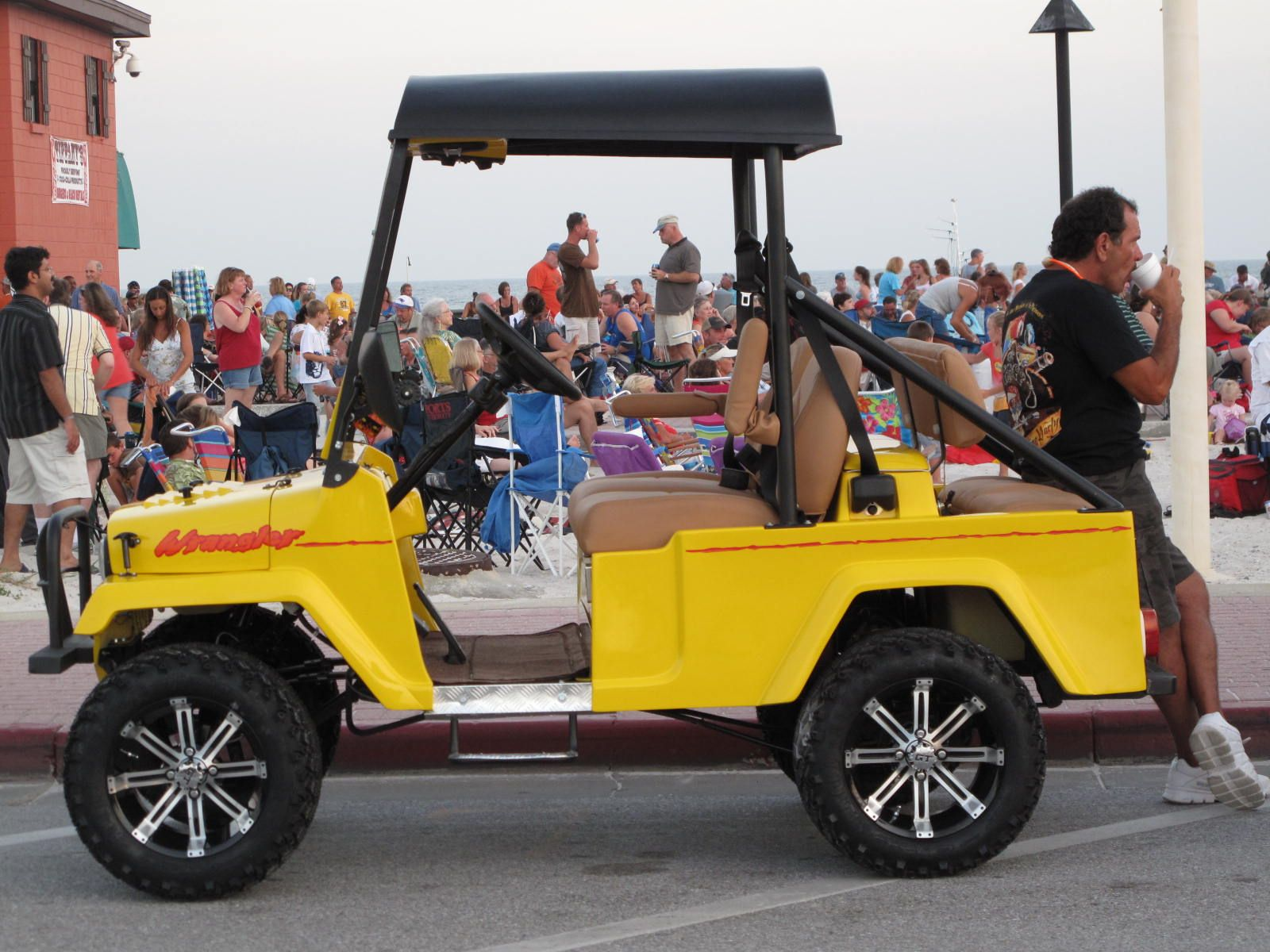 At Bands on the beach, Pensacola Beach, FL. Golf carts
