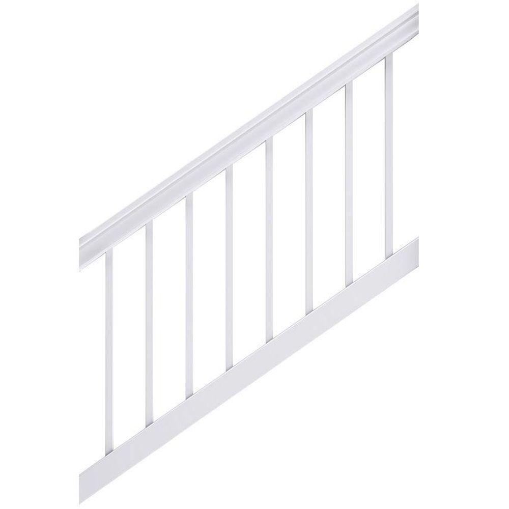 Veranda Enclave 6 Ft X 3 Ft White Capped Composite Stair Rail   Graspable Handrail Home Depot   Fence   Deck Railing   Ada Compliant   Stair Handrail   Stair Rail