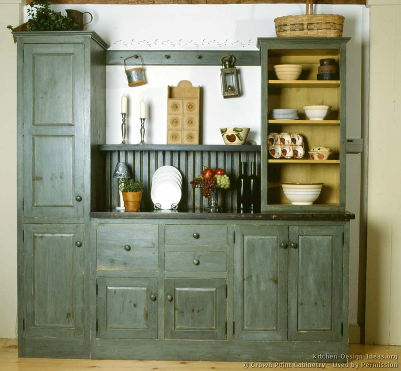Modern Country Kitchen Blue kitchen idea of the day: early american kitchens. (by crown point