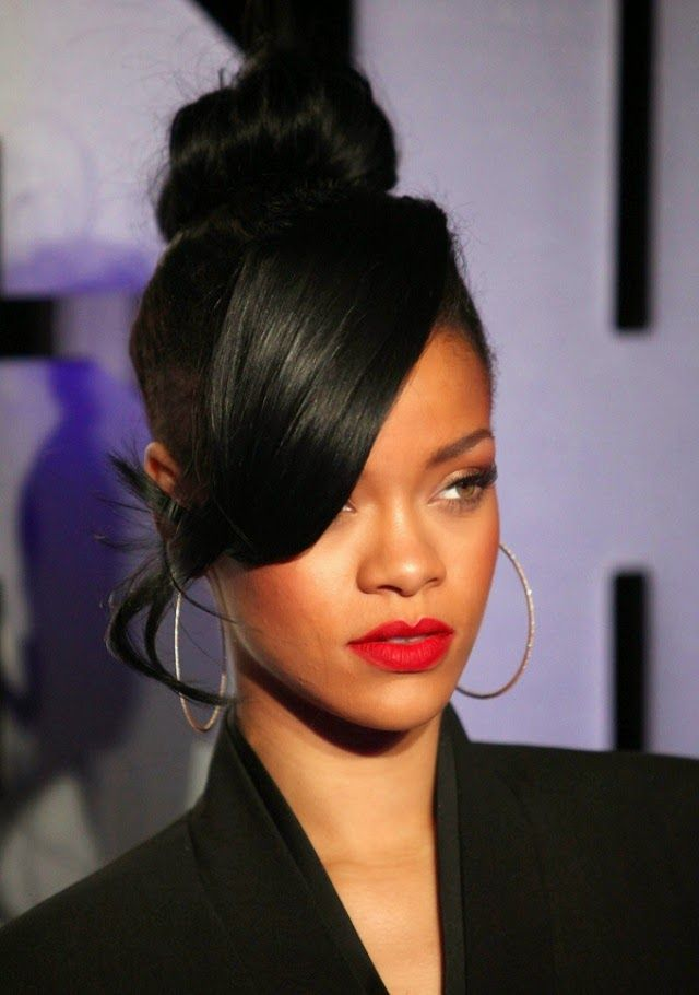 Easy High Bun Hairstyles 2015 With Side Bangs For African American Women With Long Face In Casual Days Rihanna Hairstyles Womens Hairstyles Medium Hair Styles