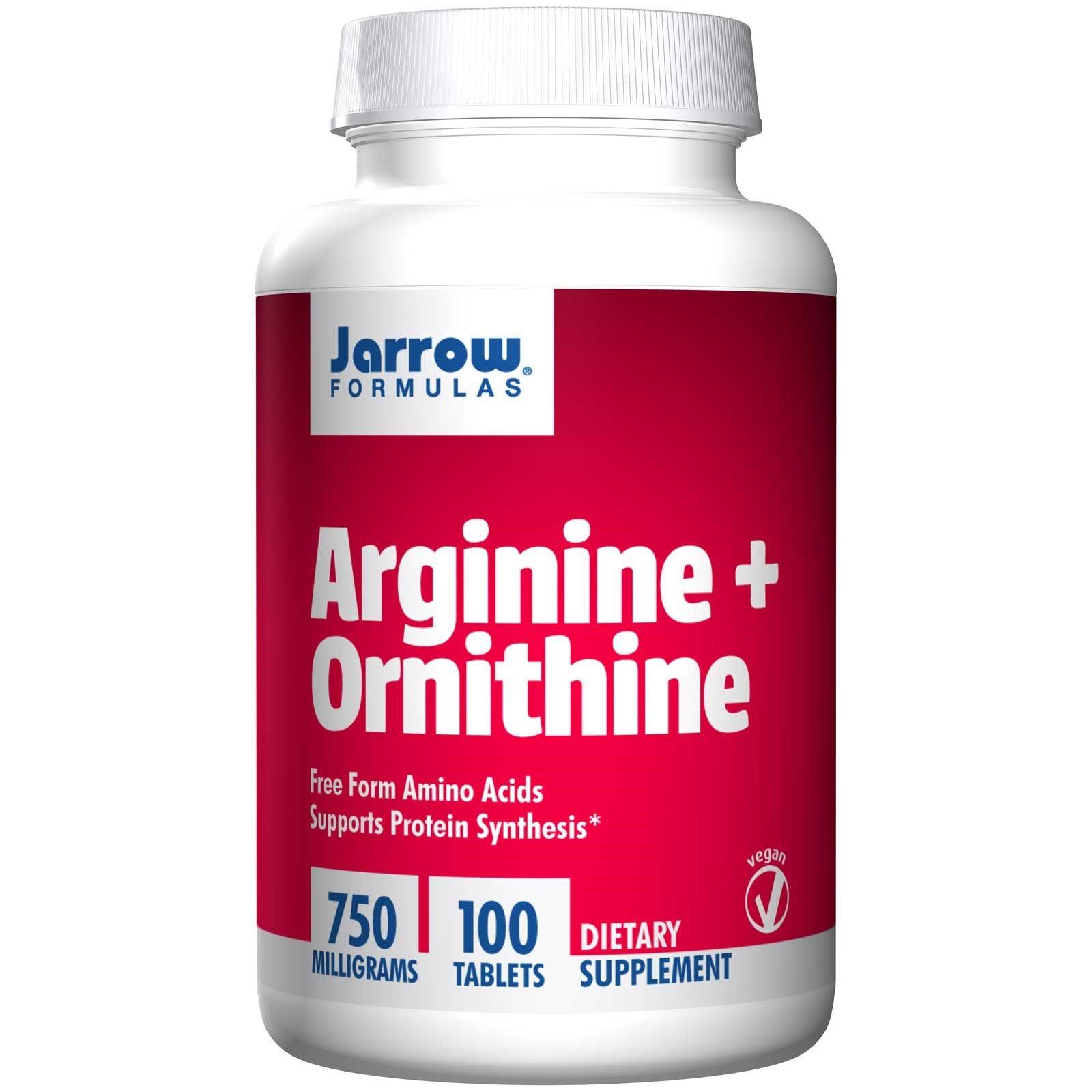 Jarrow Formulas, Arginine + Ornithine, 750 mg, 100 Tablets