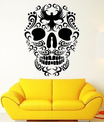 Wall stickers death skull bird patterns art mural vinyl decal ig1978