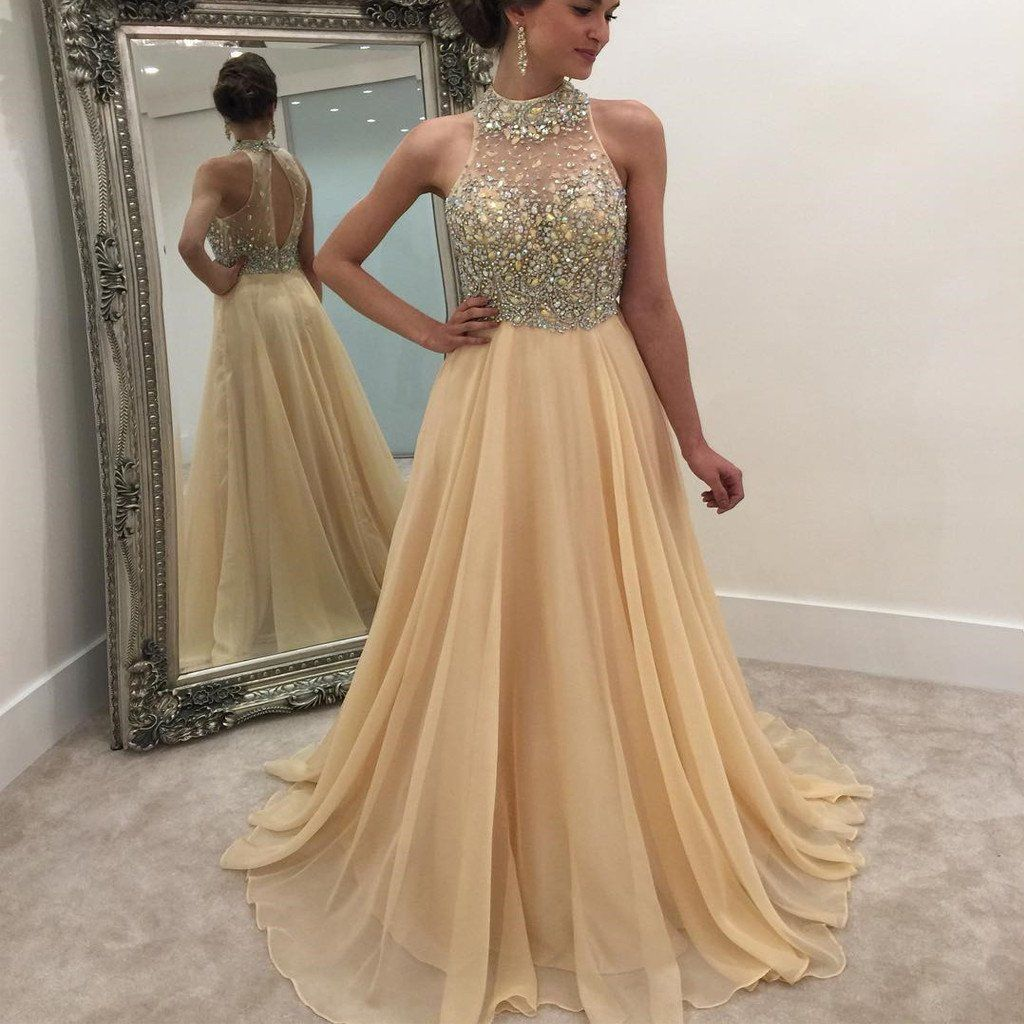 high neck rhinestone open back long aline prom dresses pd