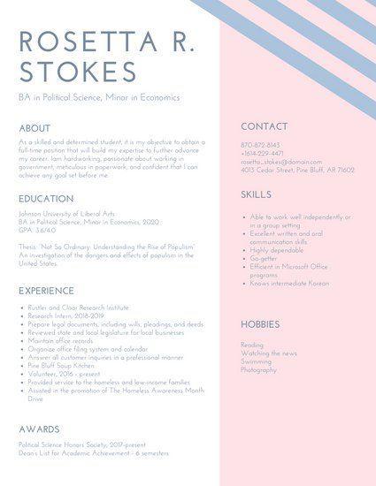 Pink Lavender Stripes College Resume CV Pinterest - economics major resume