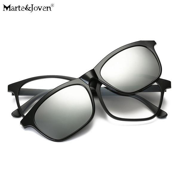 FuzWeb:[Marte&Joven] Square Mirrored Polarized Glasses Clip On ...