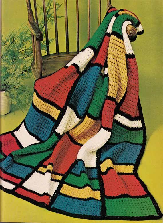 Vintage 1960s Tunisian Crochet Pattern Color Von Grannytakesatrip