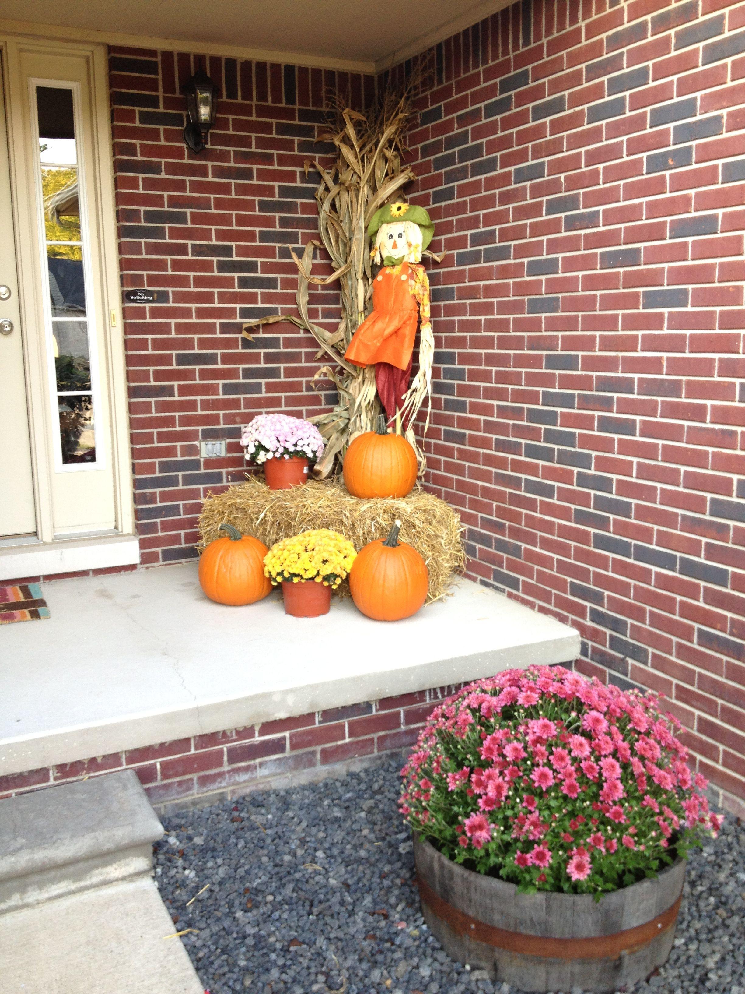 My Simple Fall Decorations Big Mums In Barrels Pumpkins