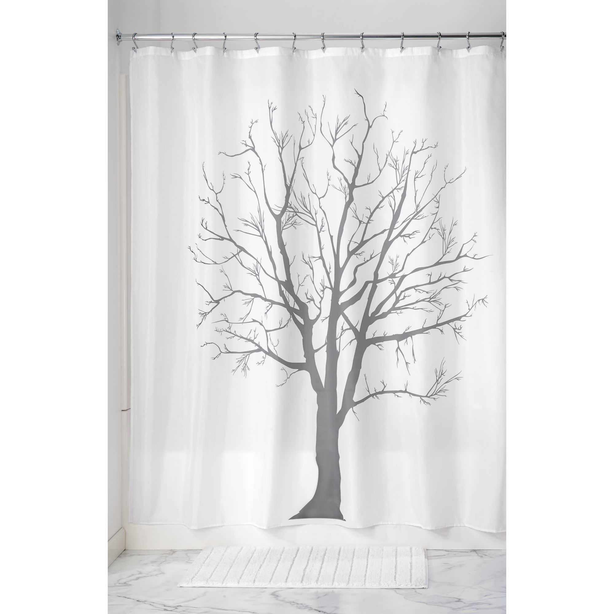 Idesign Tree Shower Curtain In Charcoal Tree Shower Curtains