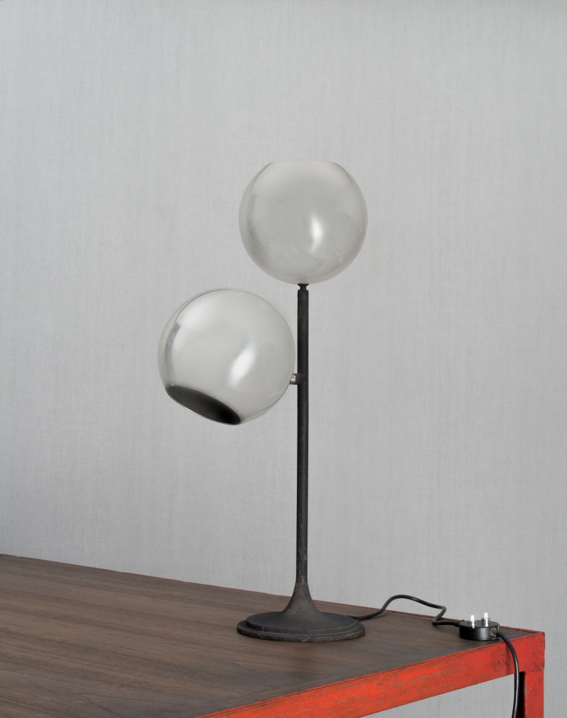 Gino Sarfatti; #521 Aluminum and Enameled Brass Table Lamp, 1961.