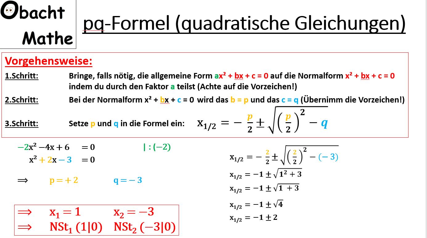 pq-Formel - Quadratische Gleichungen - Nullstellen berechen mit der ...