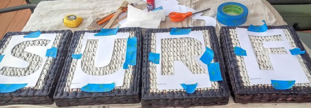 DIY Stencil Sign Using Letter Trays As A Canvas