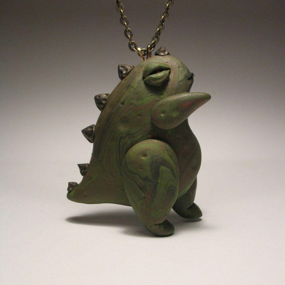 Go Godzilla Necklace Hand Sculpted Polymer Clay Sculpture 30 0