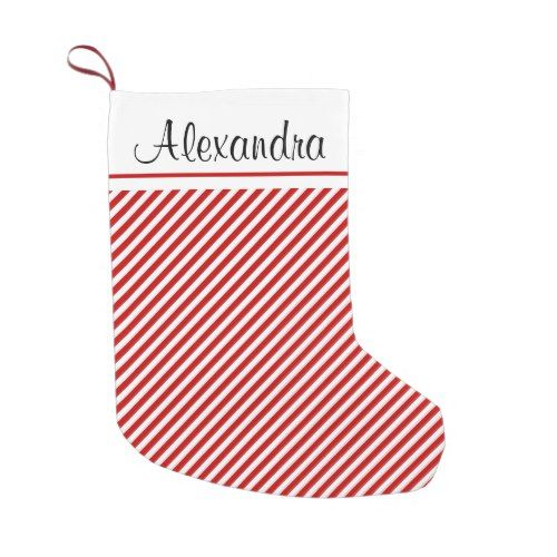 red and white christmas stripe pattern monogram small christmas