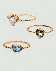 Gemstone Stack Mini Rings - Set of Three in Rose Gold - https://Sivalya.com