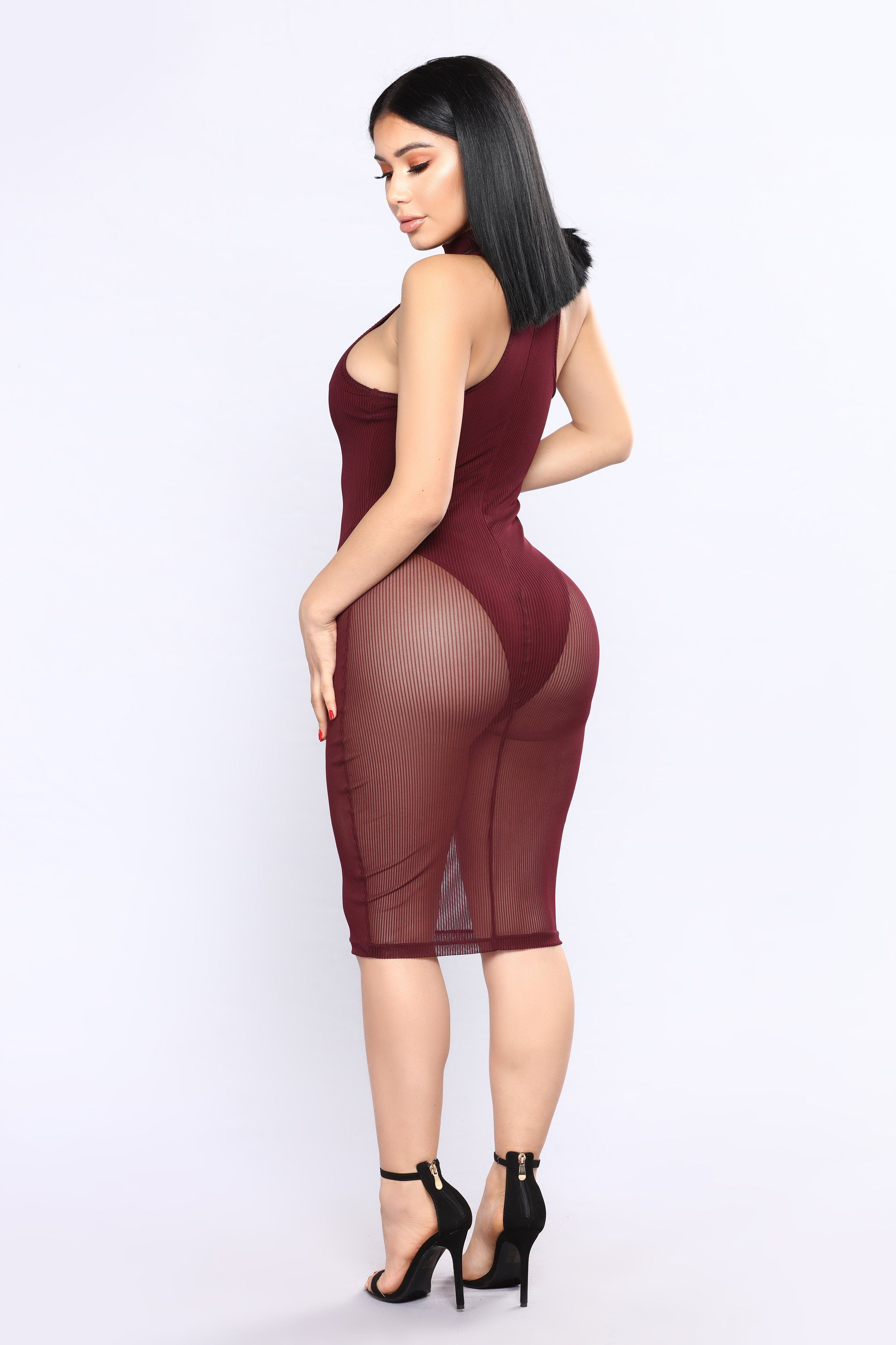 0e2f2143352 Available In Red/Brown Sheer Dress Body Suit Lining Mock Neck Snap Closure  95% Polyester 5% Spandex