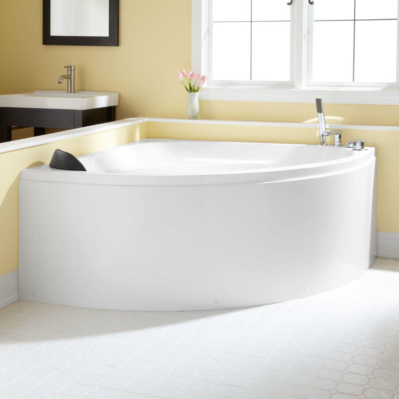 Https Www Signaturehardware Com 56 Boracay Freestanding Acrylic Corner Tub Overflow White Html Acrylic Tub Corner Tub Bathrooms Remodel