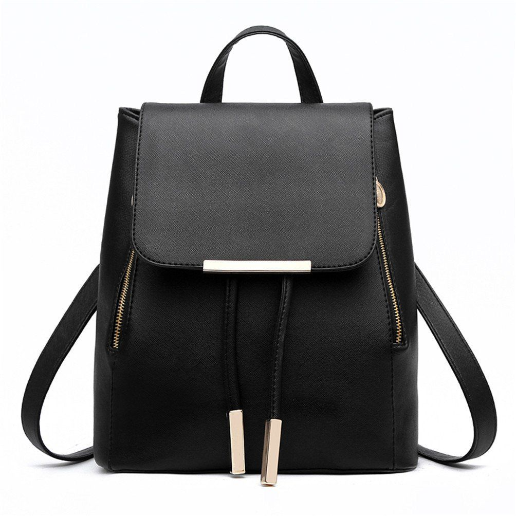 Swesy Fashion Shoulder Bag Backpack PU Leather Women Girls Ladies Rucksack  College School Travel Bag Black -- Awesome products selected by Anna  Churchill 2b3f1847b654f