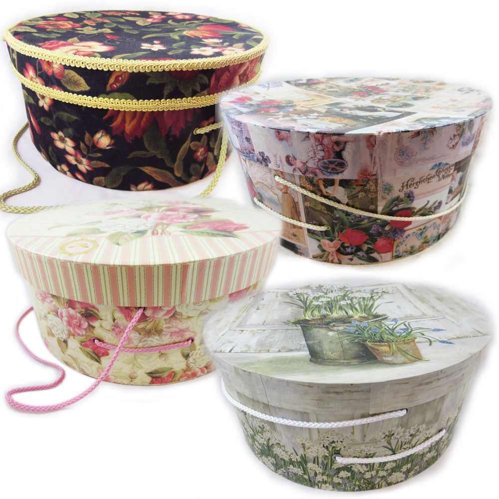 Large Decorative Gift Boxes With Lids Big Large Round Hat Box Decorative Boxes Lid Storage Floral Shabby