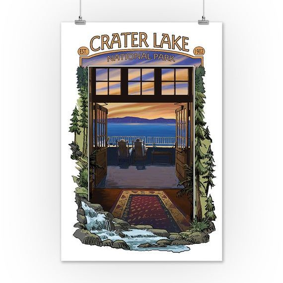Crater Lake National Park - View from Lodge (Art Prints, Wood & Metal Signs, Canvas, Tote Bag, Towel #craterlakenationalpark