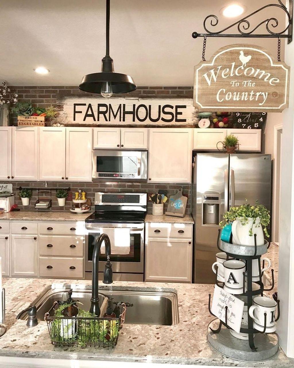 Pin By Loretta Gallegos On Decorating Kitchen Cabinets Decor Above Kitchen Cabinets Farmhouse Kitchen Decor