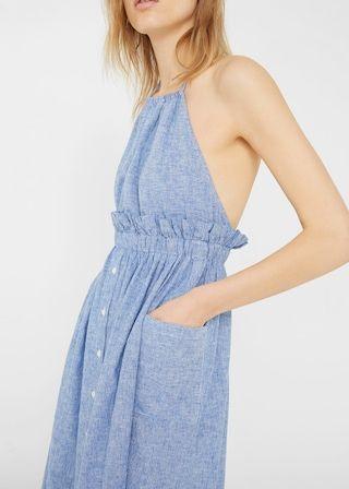 6bf68ce66735 Robe à rayures lin - Femme