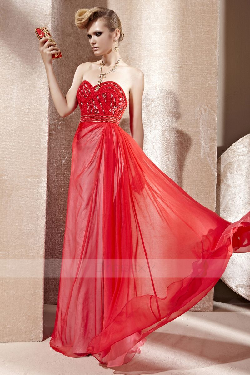 Luxury a line floorlength sweetheart backless chiffon red prom
