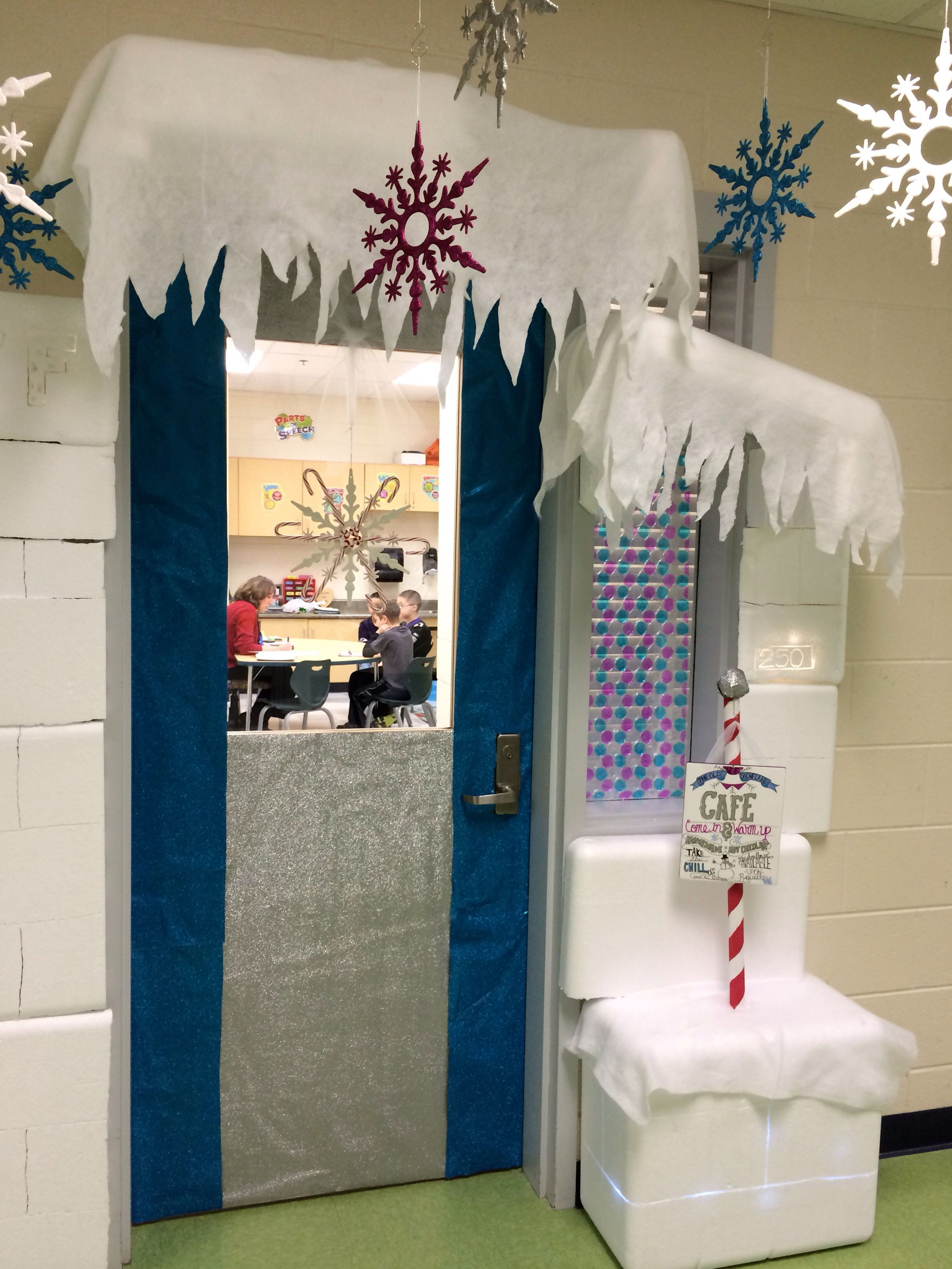 Classroom Winter Decor ~ My winter wonderland classroom door ran over to the speech