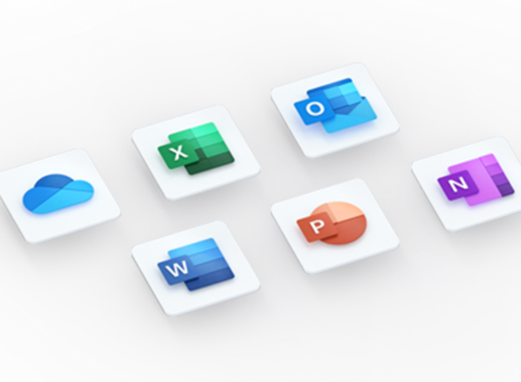 3D logos of various Office apps including OneDrive, Excel