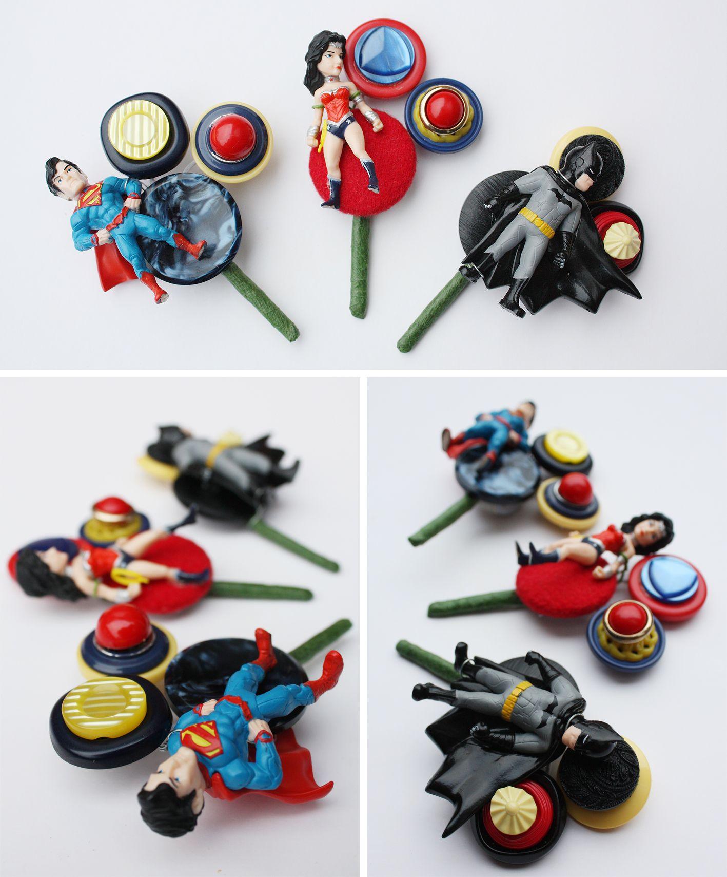 Alternative comic superhero buttonholes | Super hero themed wedding ...