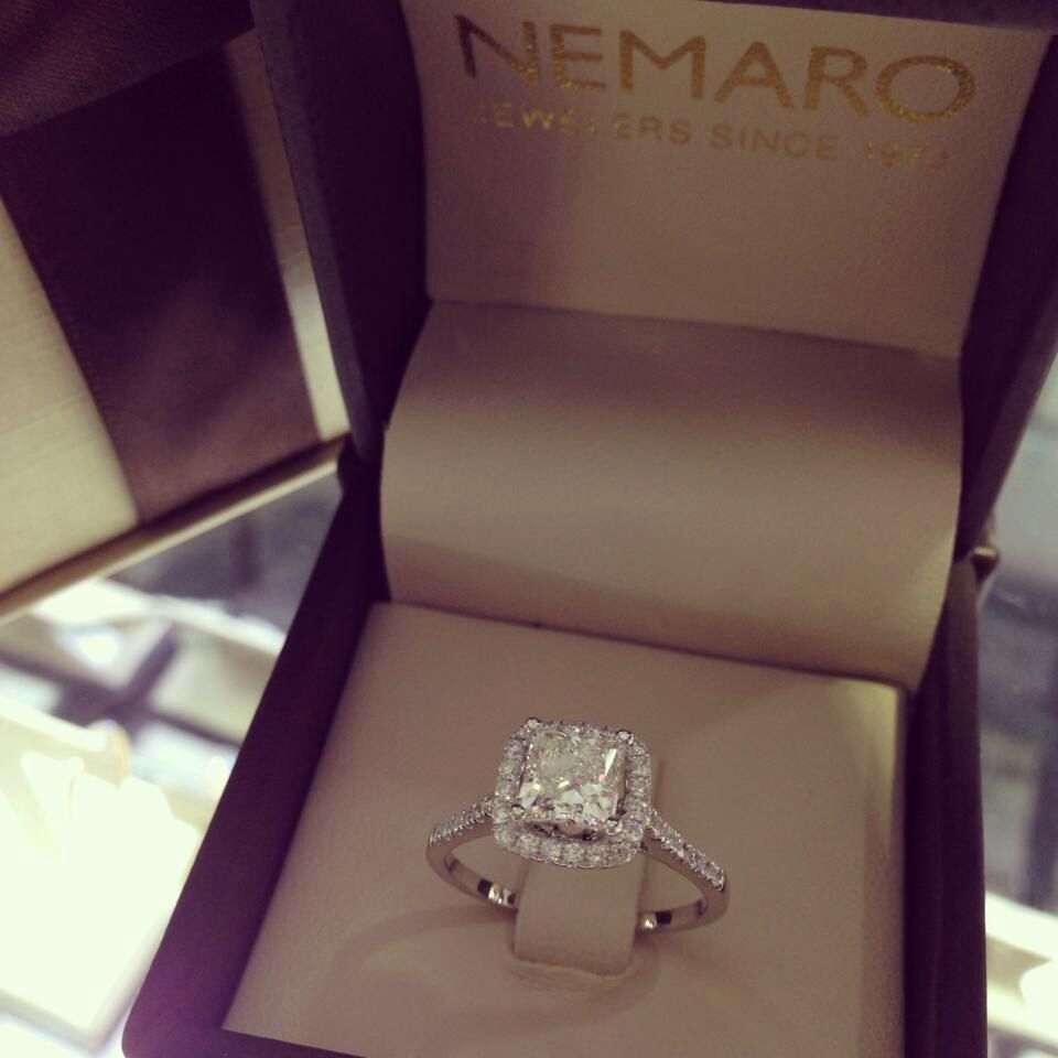 Diamond Engagement Ring With Princess Cut Diamond And Square Halo Setting