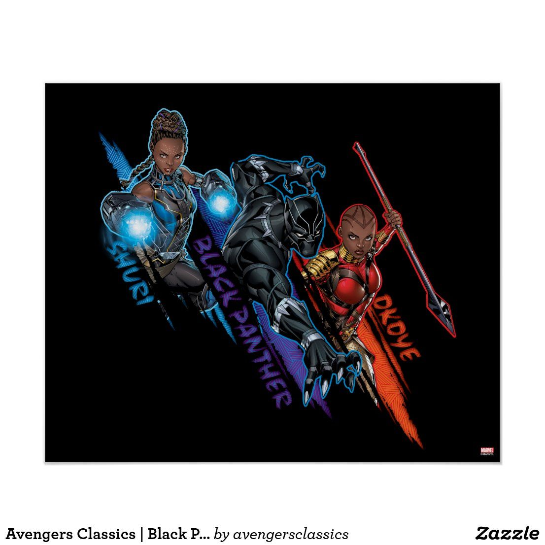 Avengers classics black panther team up poster zazzle