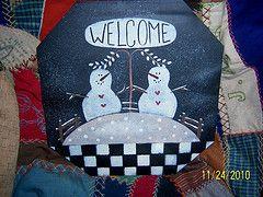 Sap bucket cover -Two snowmen