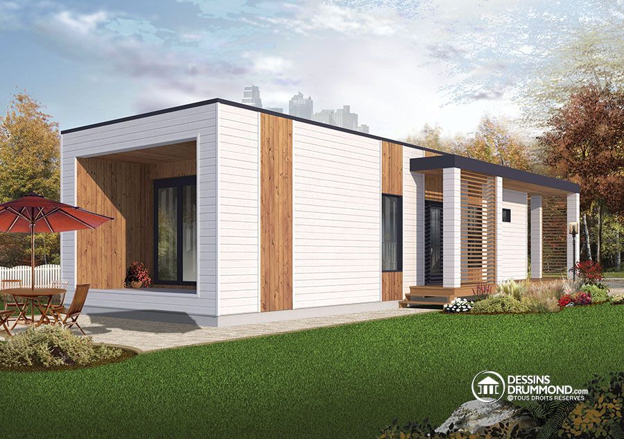 W1906 - Micro maison moderne de 631 pi carré,plafond 9\u0027, 2 à 3 - Plan De Maison Moderne