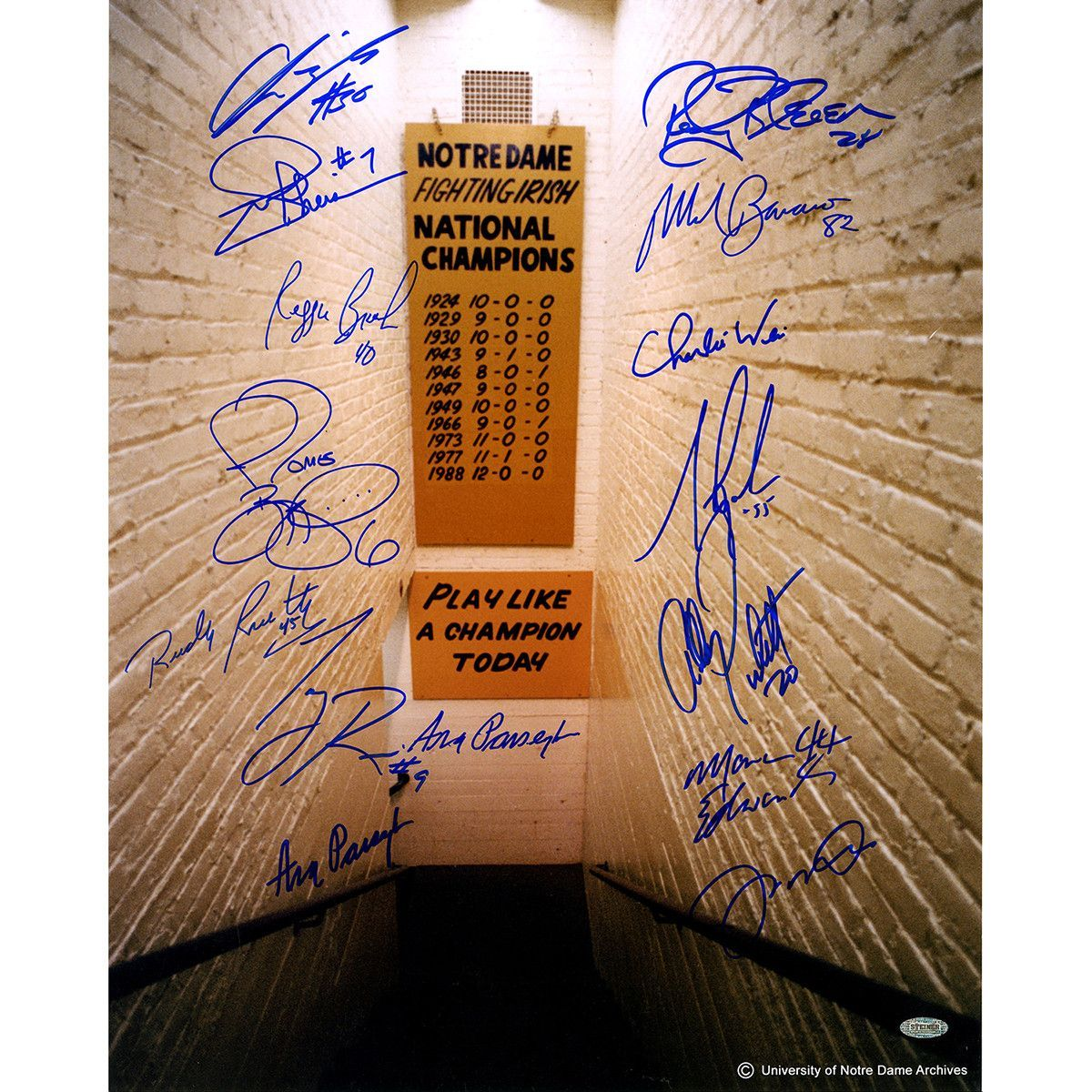 Notre Dame Greats 15 Signature Notre Dame Locker Room Tunnel w/ Play Like a Champion Sign Vertical 16x20 Photo